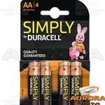 10 Blister - DURACELL SIMPLY STILO AA BLISTER 4 PEZZI