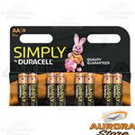 10 Blister - DURACELL SIMPLY STILO AA BLISTER 8 PEZZI