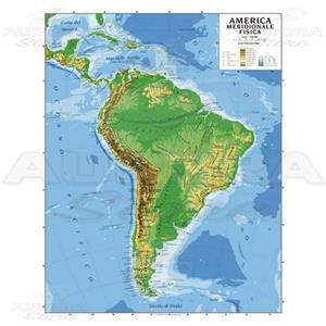 Cartina America Meridionale Politica.Cartina Geografica America Meridionale Bifacciale Fisica Politica 100x140cm