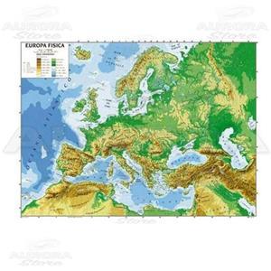 Immagini Cartina Fisica Europa.Cartina Geogrifica Europa Bifacciale Fisica Politica 100x140cm Plastificata