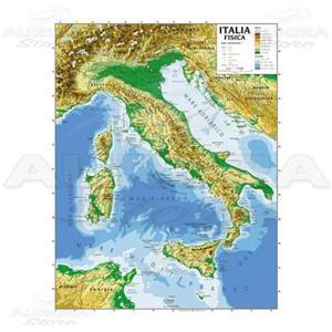 Cartina Fisica Italia Leggibile.Cartina Geogrifica Italia Bifacciale Fisica Politica 100x140cm