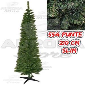 Albero Di Natale Slim 210.Albero Di Natale Pino Slim 210 Cm Abete Verde Natale Slim210