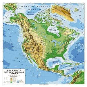 America Politica Cartina.Cartina Geografica America Settentrionale Bifacciale Fisica Politica 100x140cm Cancelleria 11