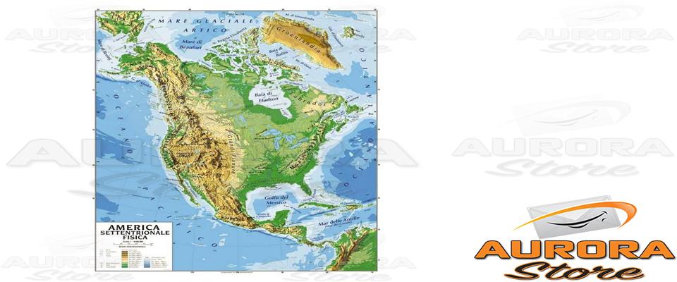 America Settentrionale Cartina Geografica Politica.Cartina Geografica America Settentrionale E Bifacciale Fisica Politica 100x140cm Ebay